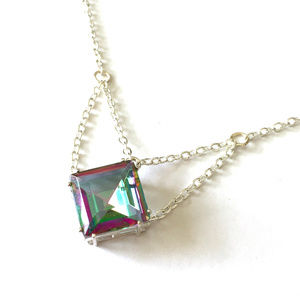 Repurposed Jewel Necklace with Draped Silver Chain